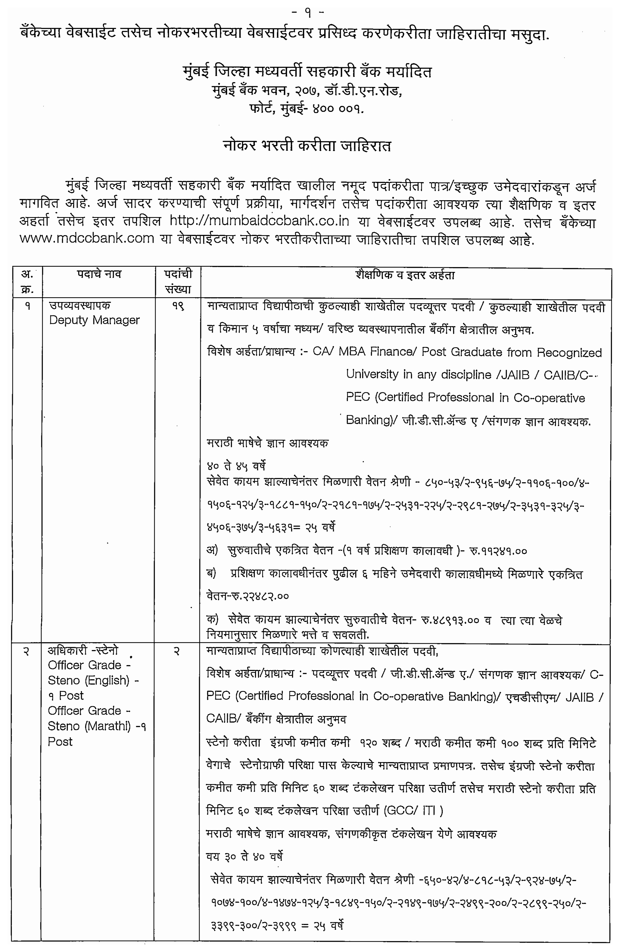 Vacancies at MDCC Bank